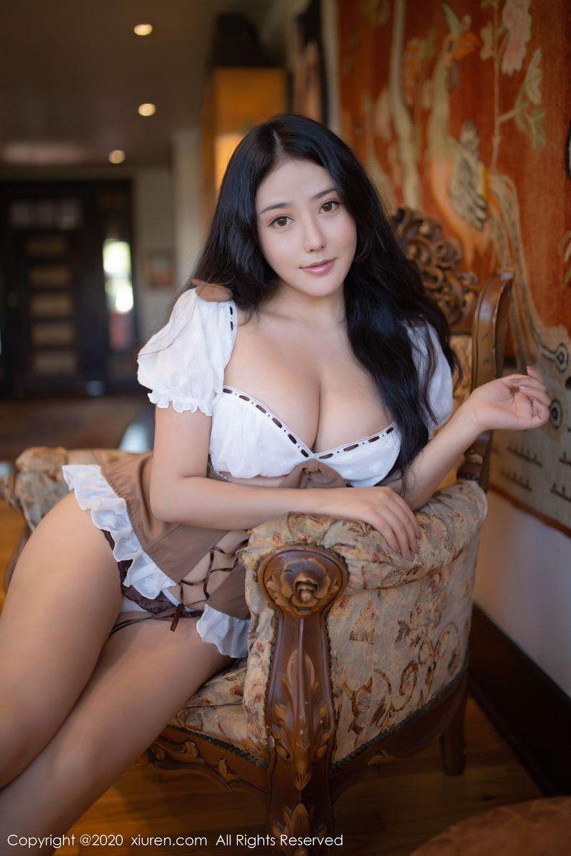 翘臀女仆装大尺度爆乳丁字裤性感女神秀人网-[玛鲁娜]超高清写真图片 1620343480更新