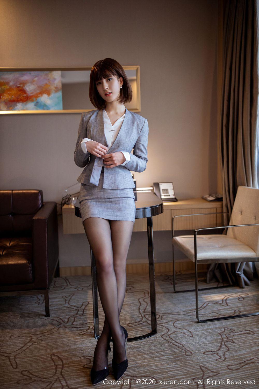 黑丝美腿职场OL内衣诱惑翘臀都市丽人短发美女秀人网-[林文文]超高清写真图片|1620430549更新